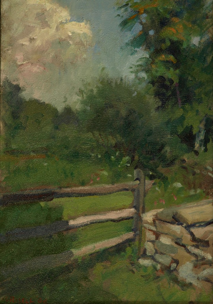 Fence, Oil on Panel, 18 x 12 Inches, by Susan Grisell, $275