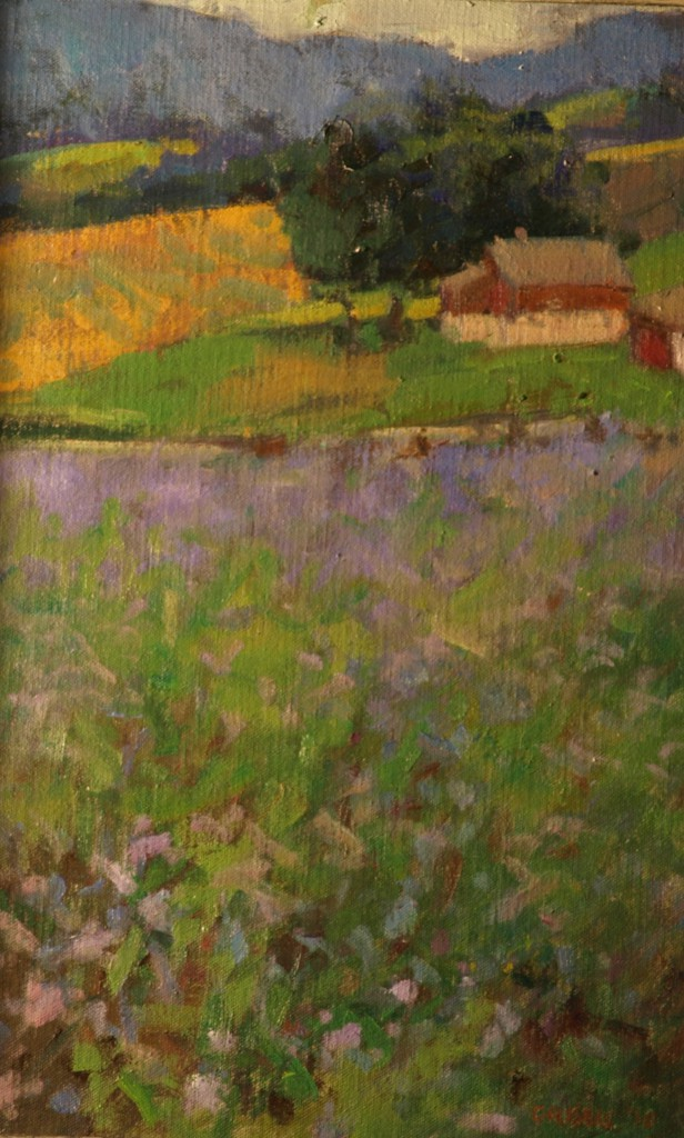 Field of Chicory, Oil on Linen on Panel, 12 x 18 Inches, by Susan Grisell, $325
