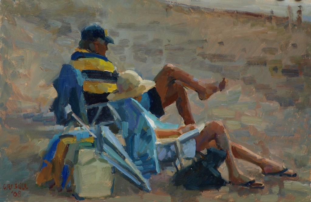 Florida Couple, Oil on Panel, 12 x 18 Inches, by Susan Grisell, $275