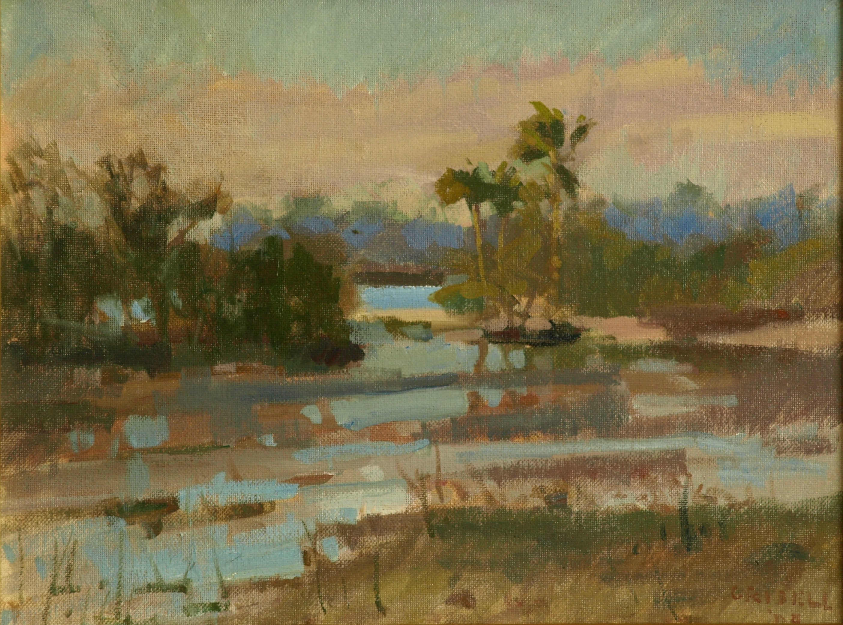 Florida Wetland, Oil on Canvas on Panel, 12 x 16 Inches, by Susan Grisell, $300