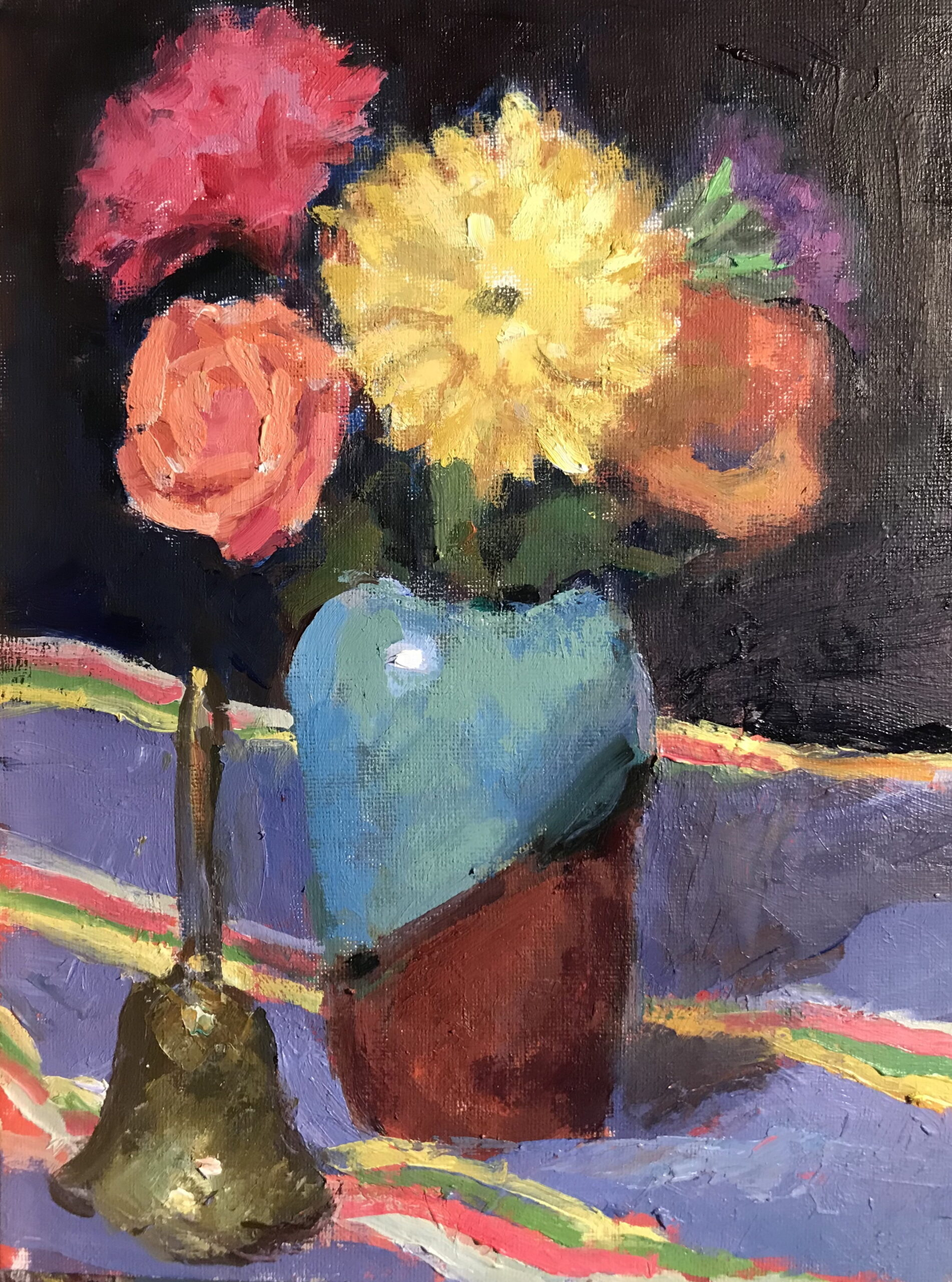 Flowers and Stripes, Oil on Panel, 12 x 9 Inches, by Susan Grisell, $200