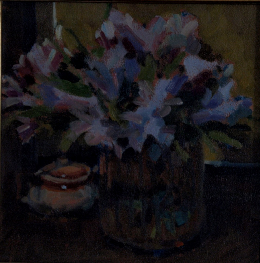Flowers and Sugar Bowl, Oil on Panel, 12 x 12 Inches, by Susan Grisell, $285