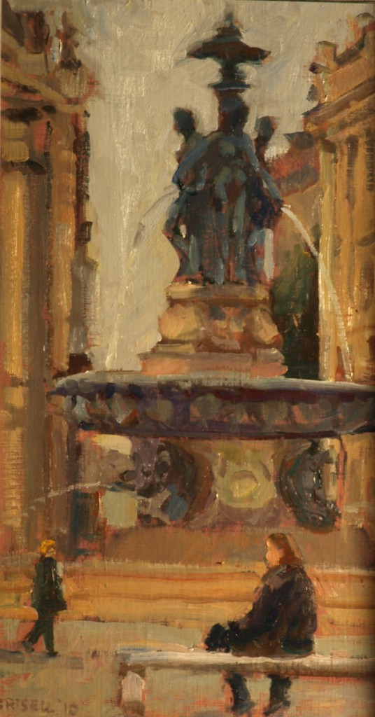 Fountain - Bordeaux, Oil on Linen on Panel, 16 x 9 Inches, $250