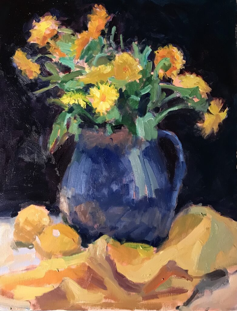 """""""Fred's Blue Pitcher"""", Oil on Canvas, 20 x16 Inches, by Susan Grisell $550"""