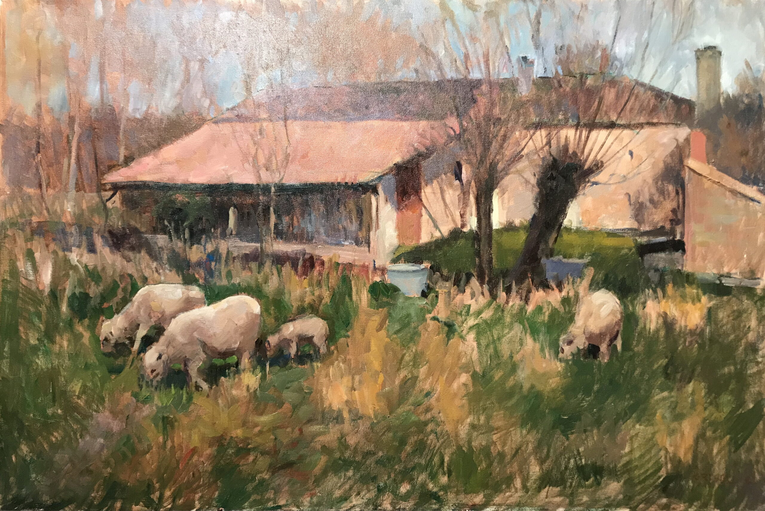 French Farmyard, Oil on Canvas, 24 x 36 Inches, by Susan Grisell, $1500