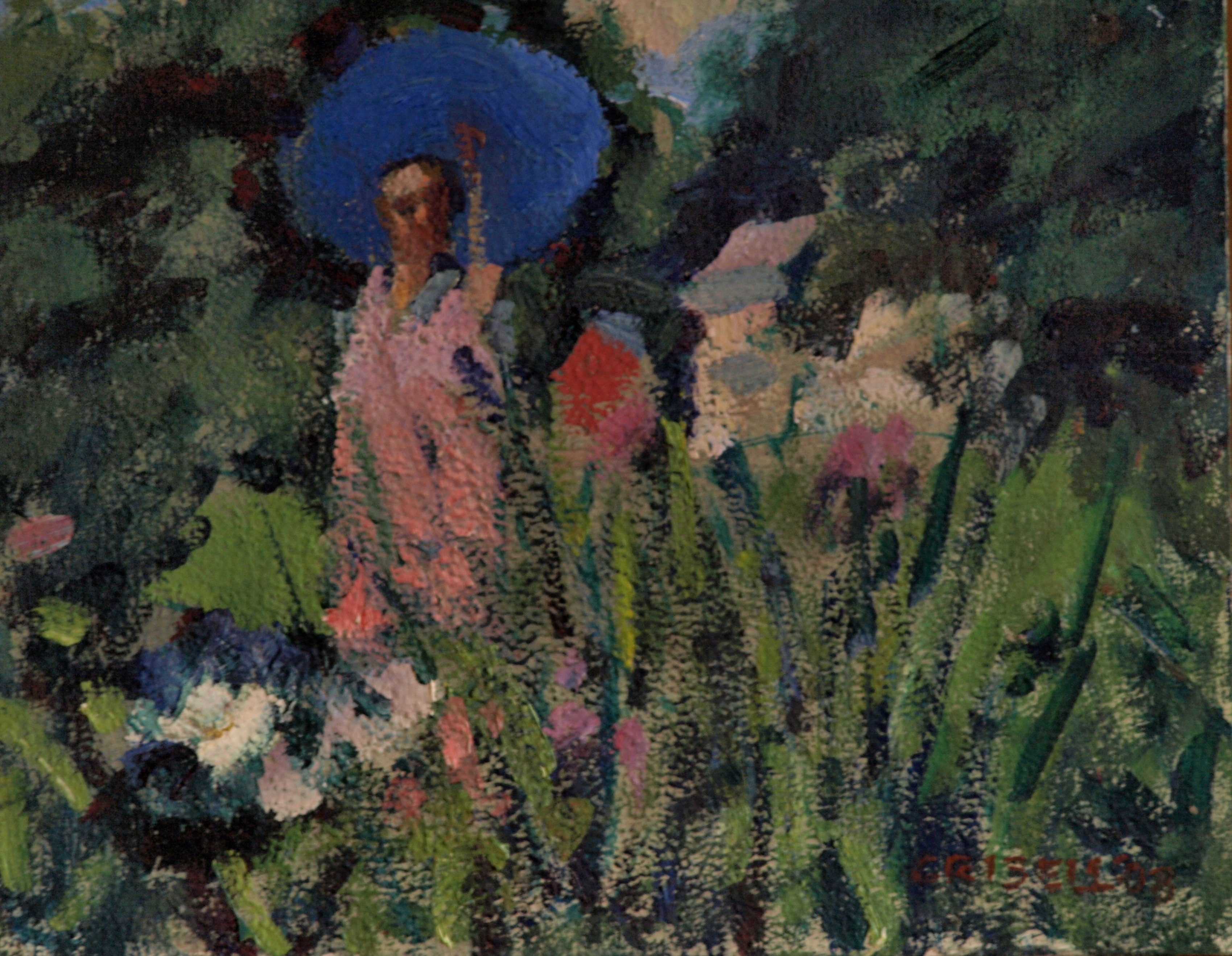 Garden in June, Oil on Panel, 8 x 10 Inches, by Susan Grisell, $150