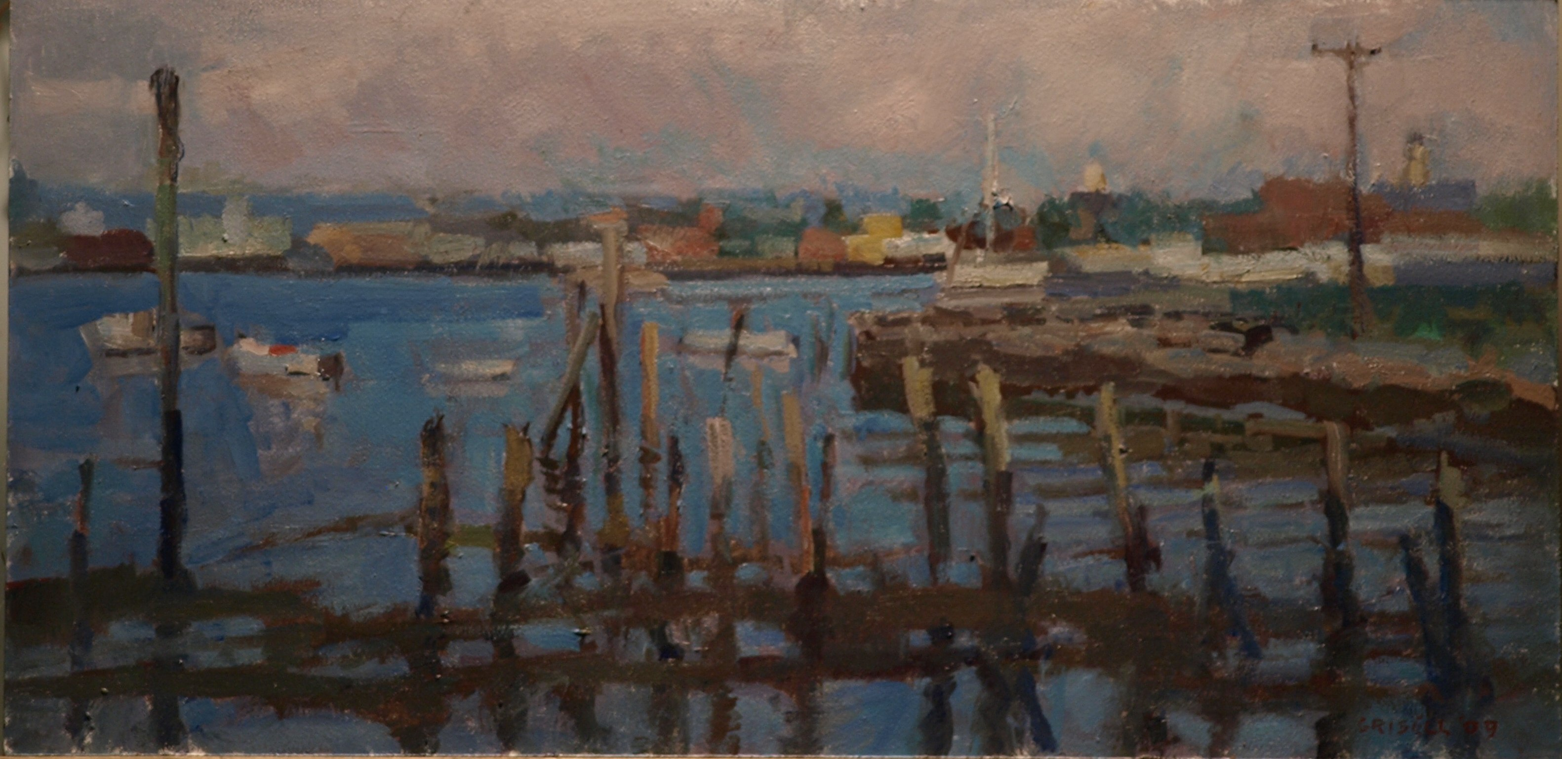 Gloucester Morning, Oil on Panel, 12 x 24 Inches, by Susan Grisell, $450