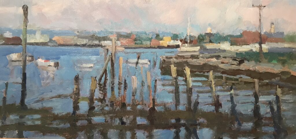 """""""Gloucester Morning"""", Oil on Panel, 12 x 24 Inches, by Susan Grisell $550"""