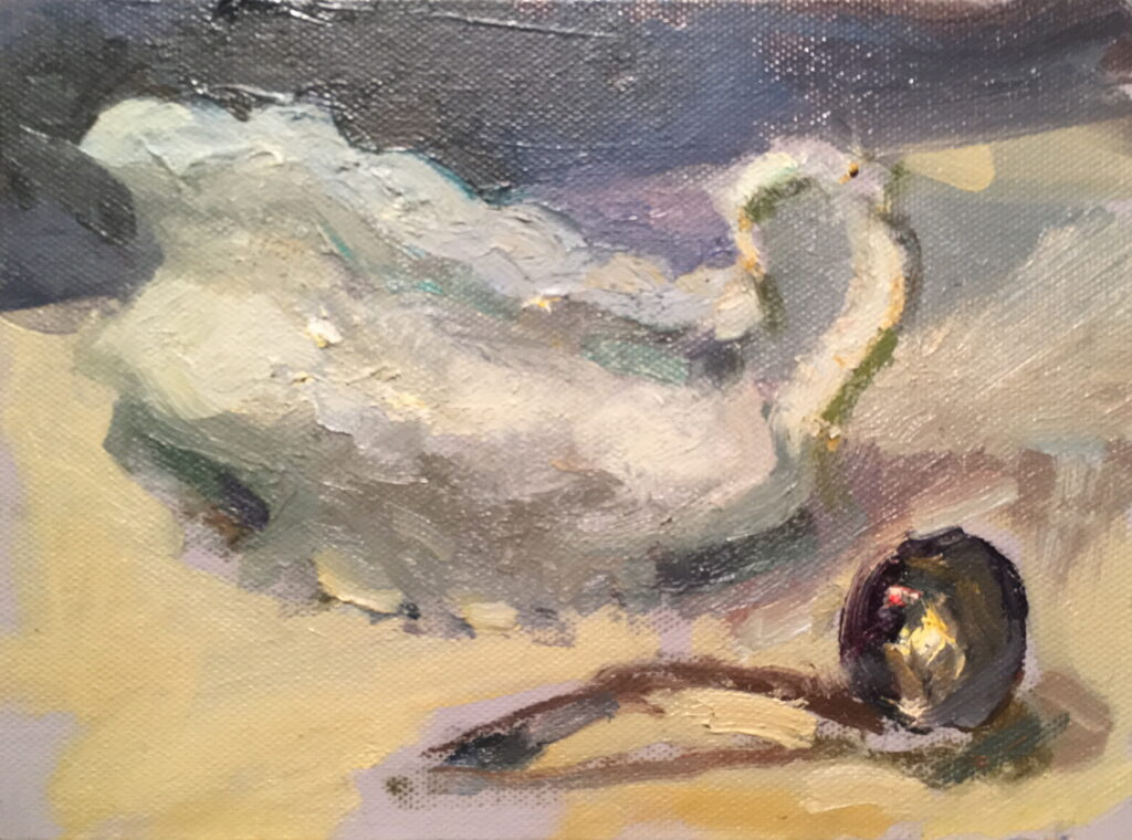 Gravy Boat, Oil on Canvas on Panel, 6 x 8 Inches, by Susan Grisell, $200
