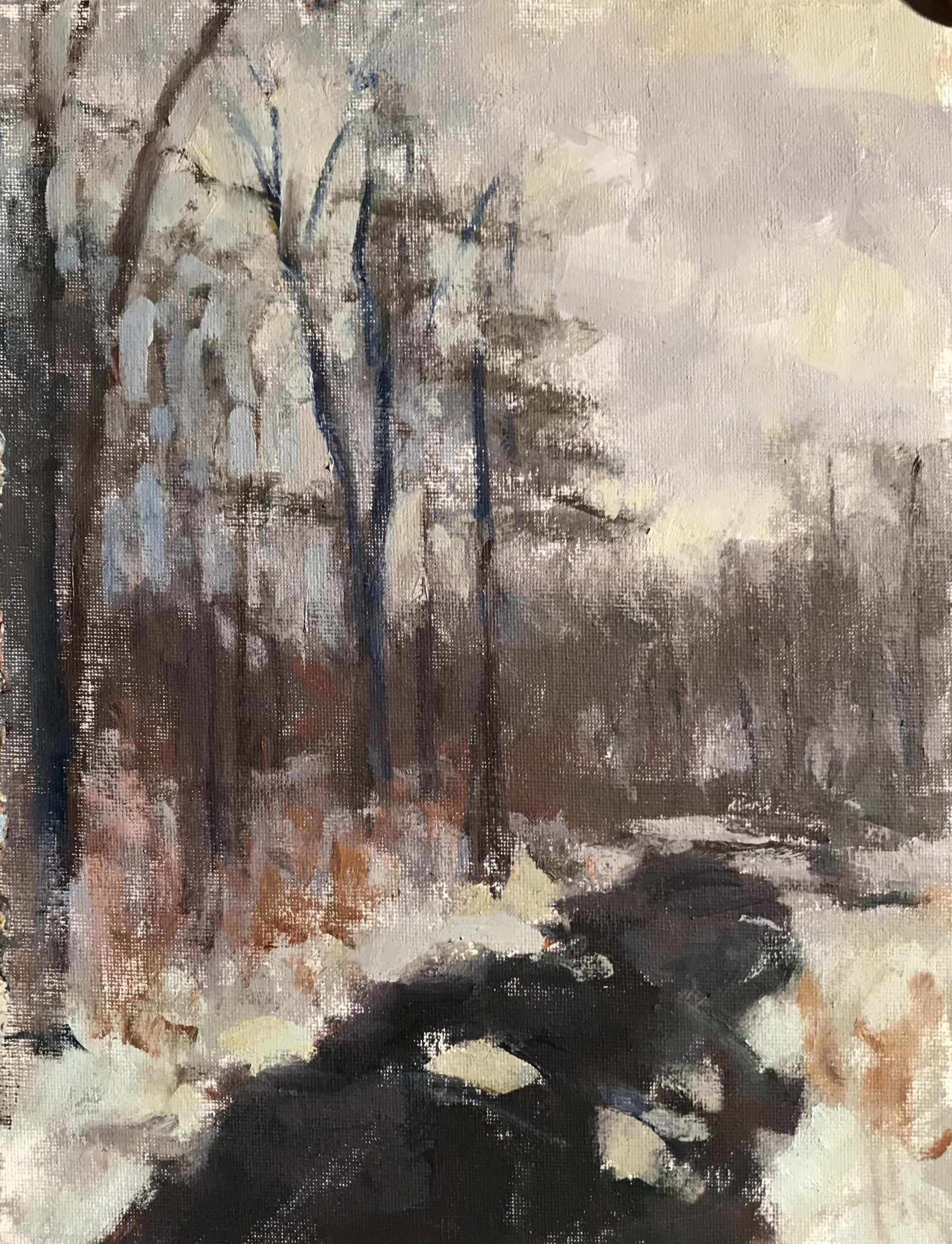 Gray Winter Day, Oil on Canvas on Panel, 12 x 9 Inches, by Susan Grisell, $200