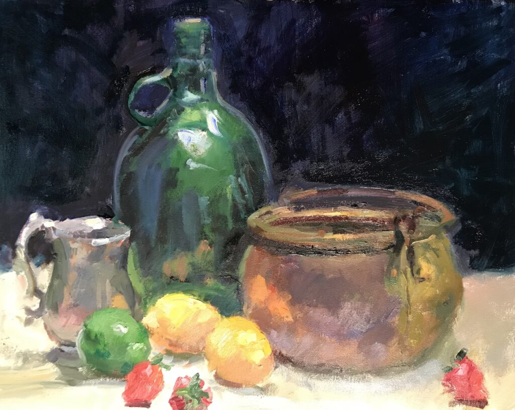 """""""Green Glass Jug"""" Oil on Canvas, 16 x 20 Inches, by Susan Grisell $650"""