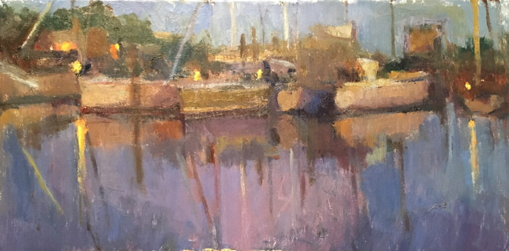 Harbor at Night, Oil on Canvas, 10 x 20 Inches, by Susan Grisell, $400