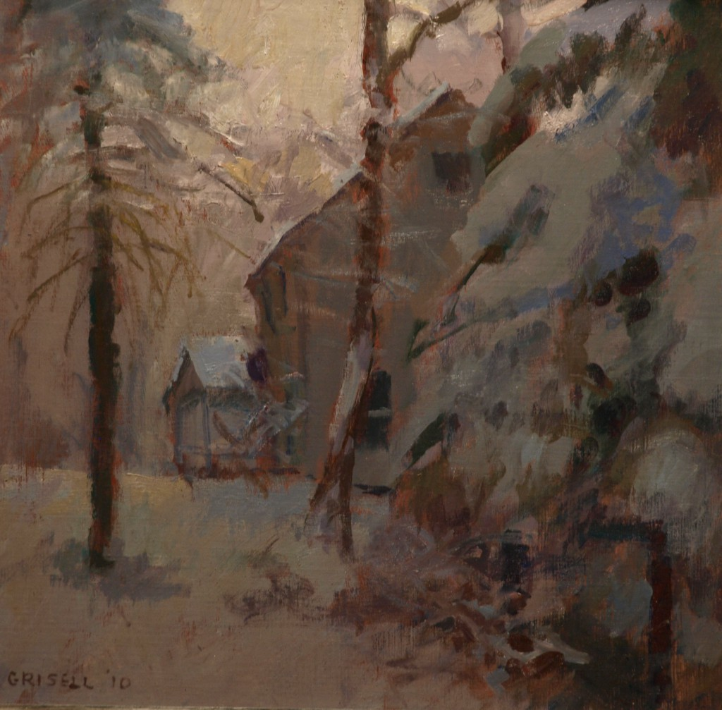 Heavy Snow, Oil on Linen on Panel, 12 x 12 Inches, by Susan Grisell, $275