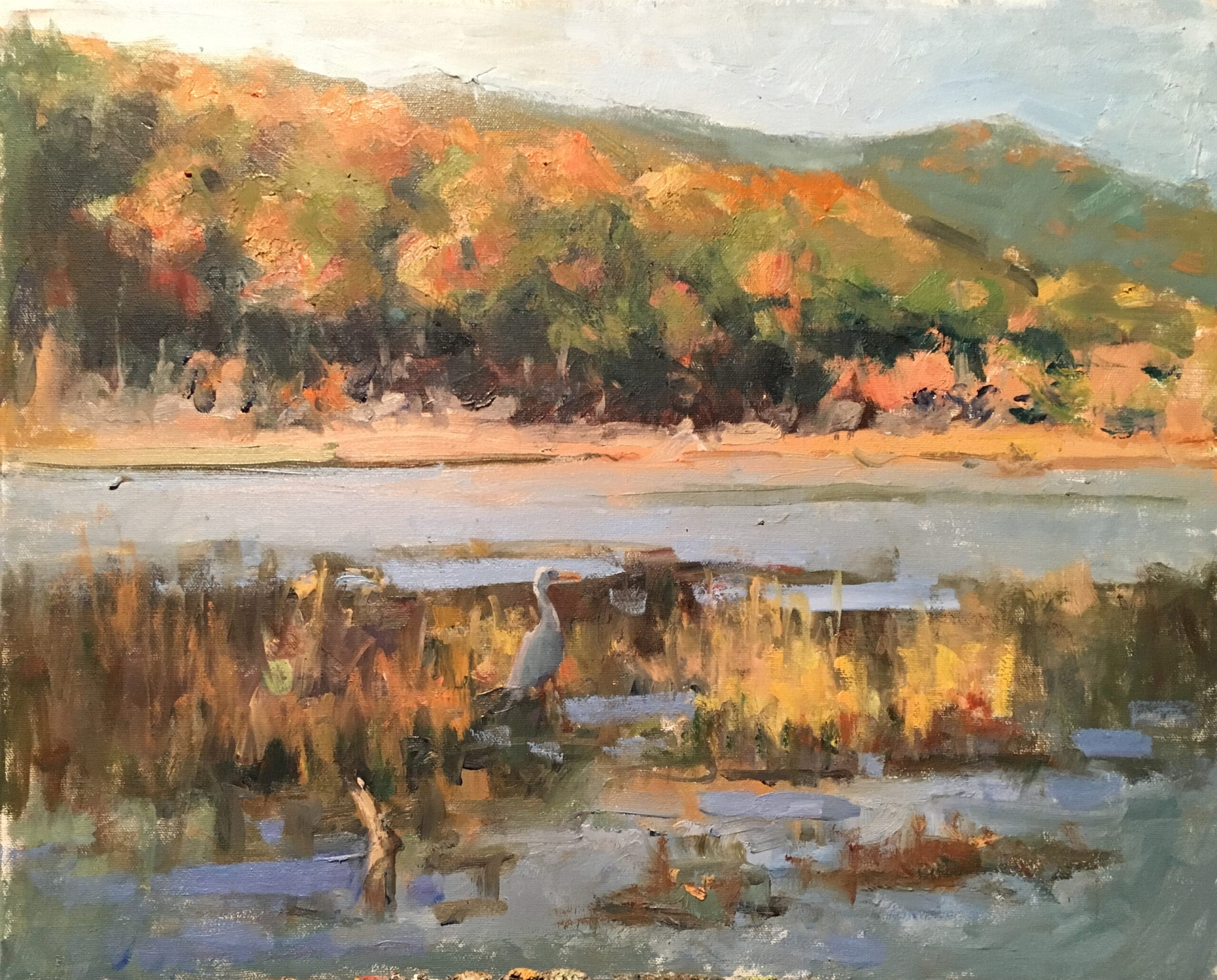 Heron at Mud Pond, Oil on Canvas, 16 x 20 Inches, by Susan Grisell, $550