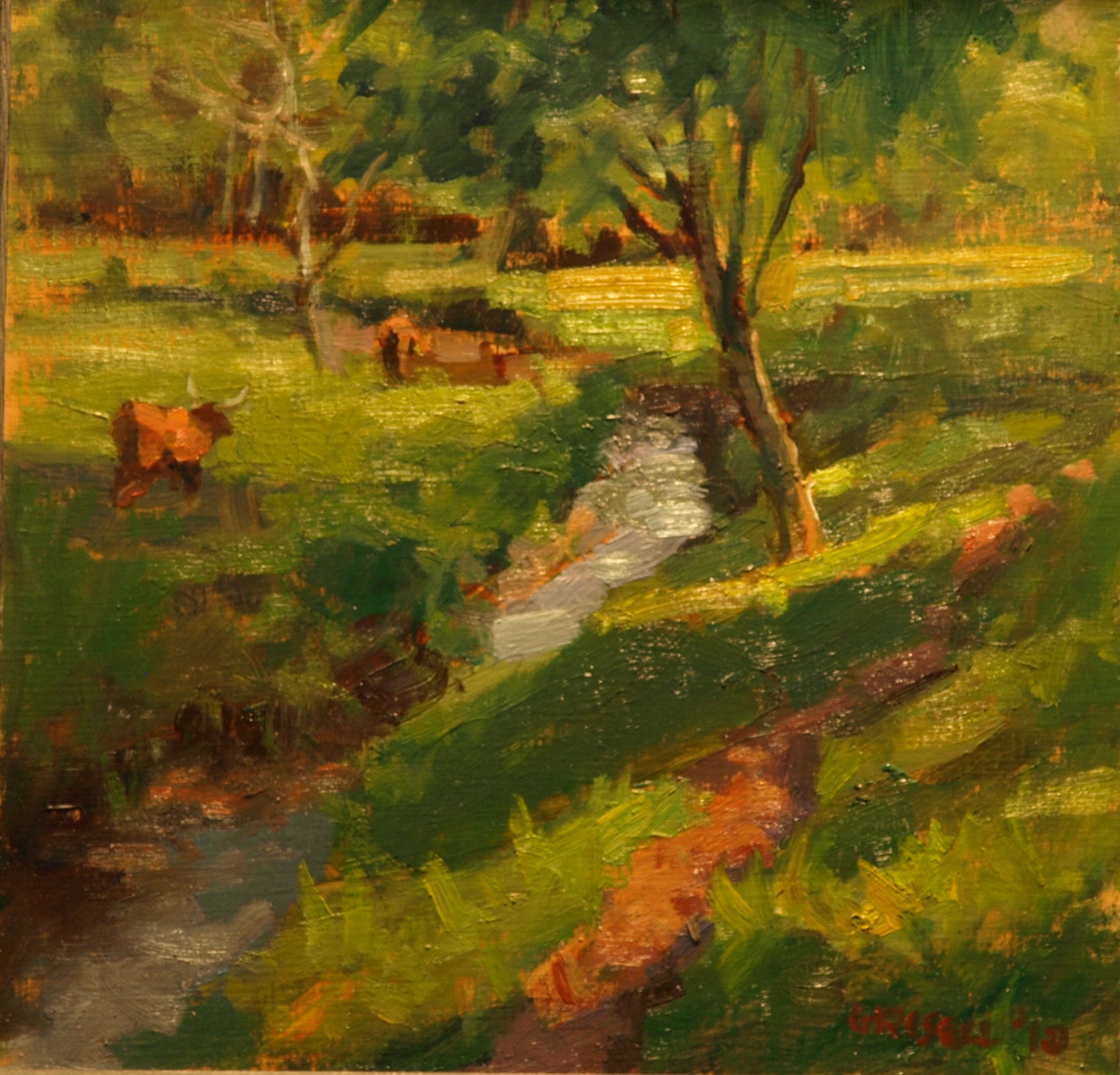 Highland Cattle, Oil on Linen on Panel, 12 x 12 Inches, by Susan Grisell, $275