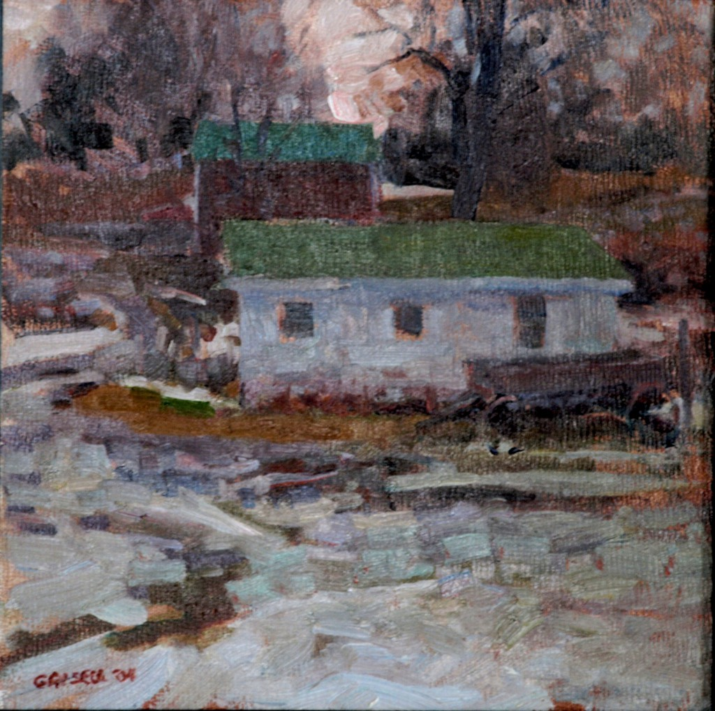 Hipp Farm - Winter, Oil on Panel, 12 x 12 Inches, by Susan Grisell, $250