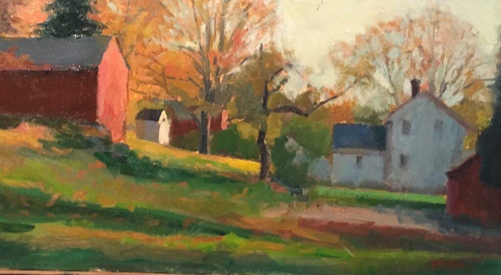 House And Barns, Oil on Canvas, 12 x 24 Inches, by Susan Grisell, $550