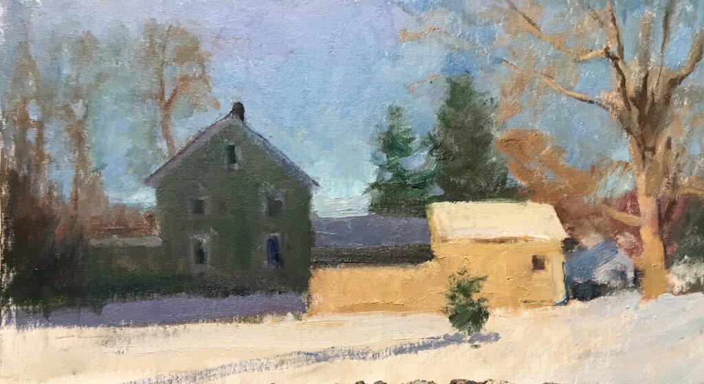 House on Riverview Road, Oil on Canvas on Panel, 9 x 16 Inches, by Susan Grisell, $300