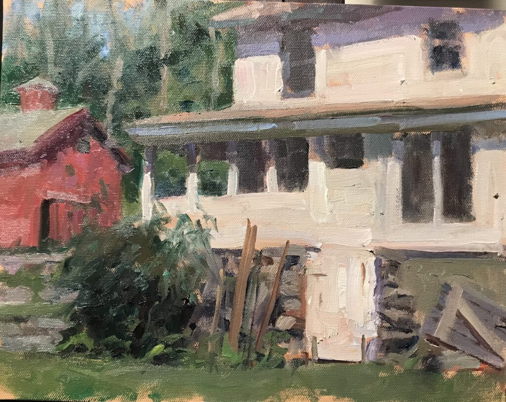 """""""Back of Bill's House"""" Oil on Canvas on Panel,12 x 16 Inches, by Susan Grisell $325"""