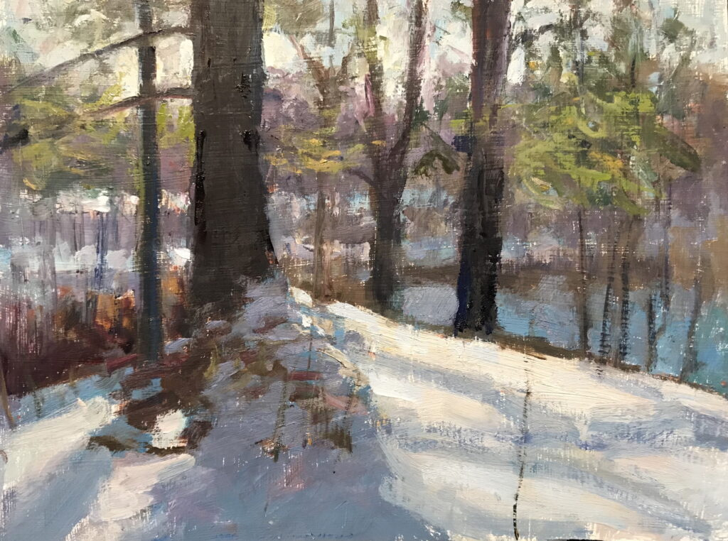 In the Shadow of the Pine, Oil on Panel, 12 x 16 Inches, by Susan Grisell, $325