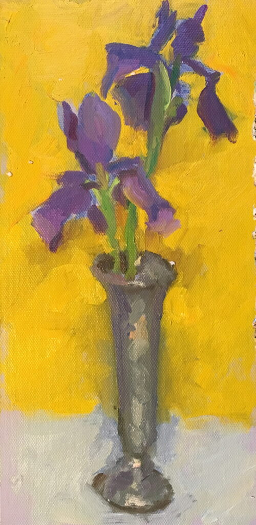 Japanese Iris, Oil on Canvas on Panel, 12 x 6 Inches, by Susan Grisell, $200