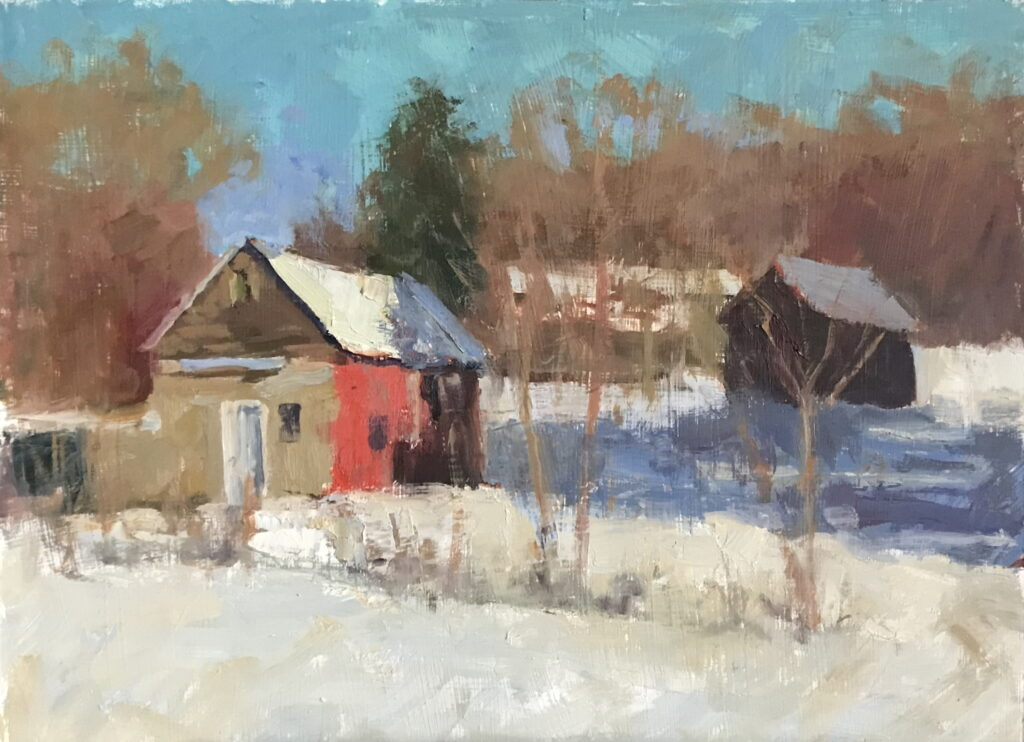 Kent Barns in February, Oil on Panel, 12 x 16 Inches, by Susan Grisell, $325