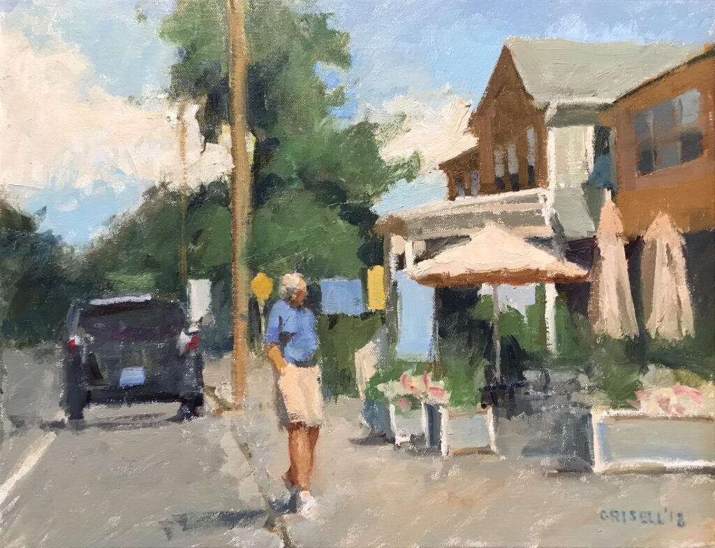 Kent Sidewalk, Oil on Canvas, 12 x 20 Inches, by Susan Grisell, $550