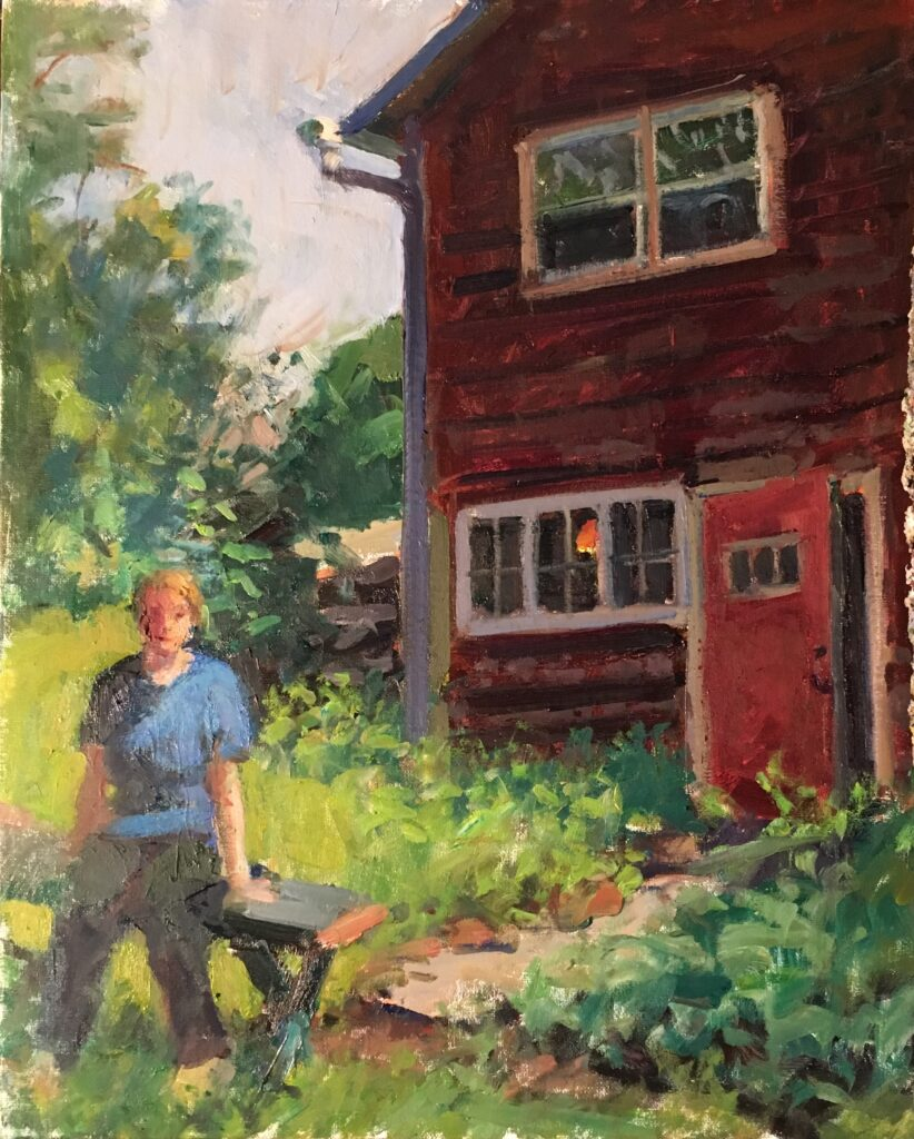 Kitchen Dooryard, Oil on Canvas on Panel, 20 x 16 Inches, by Susan Grisell, $550