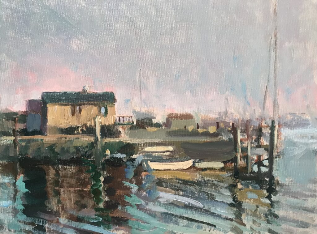"""""""Late Afternoon - Stonington"""", Oil on Canvas on Panel, 12 x 16 Inches, by Susan Grisell $325"""