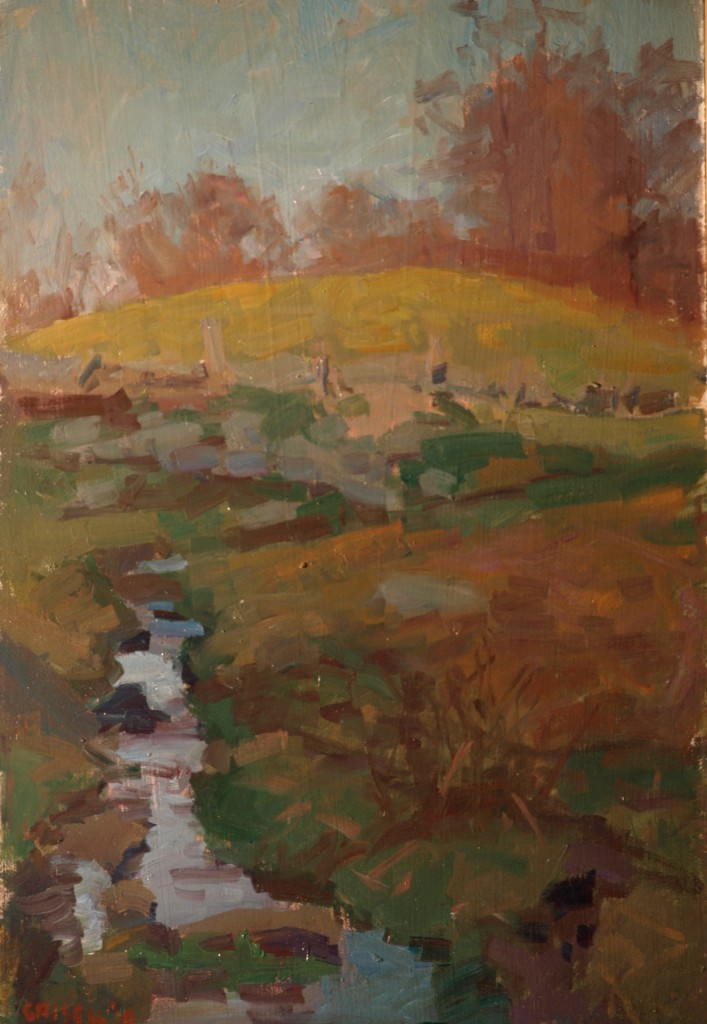 Late Afternoon - November, Oil on Panel, 18 x 12 Inches, by Susan Grisell, $325