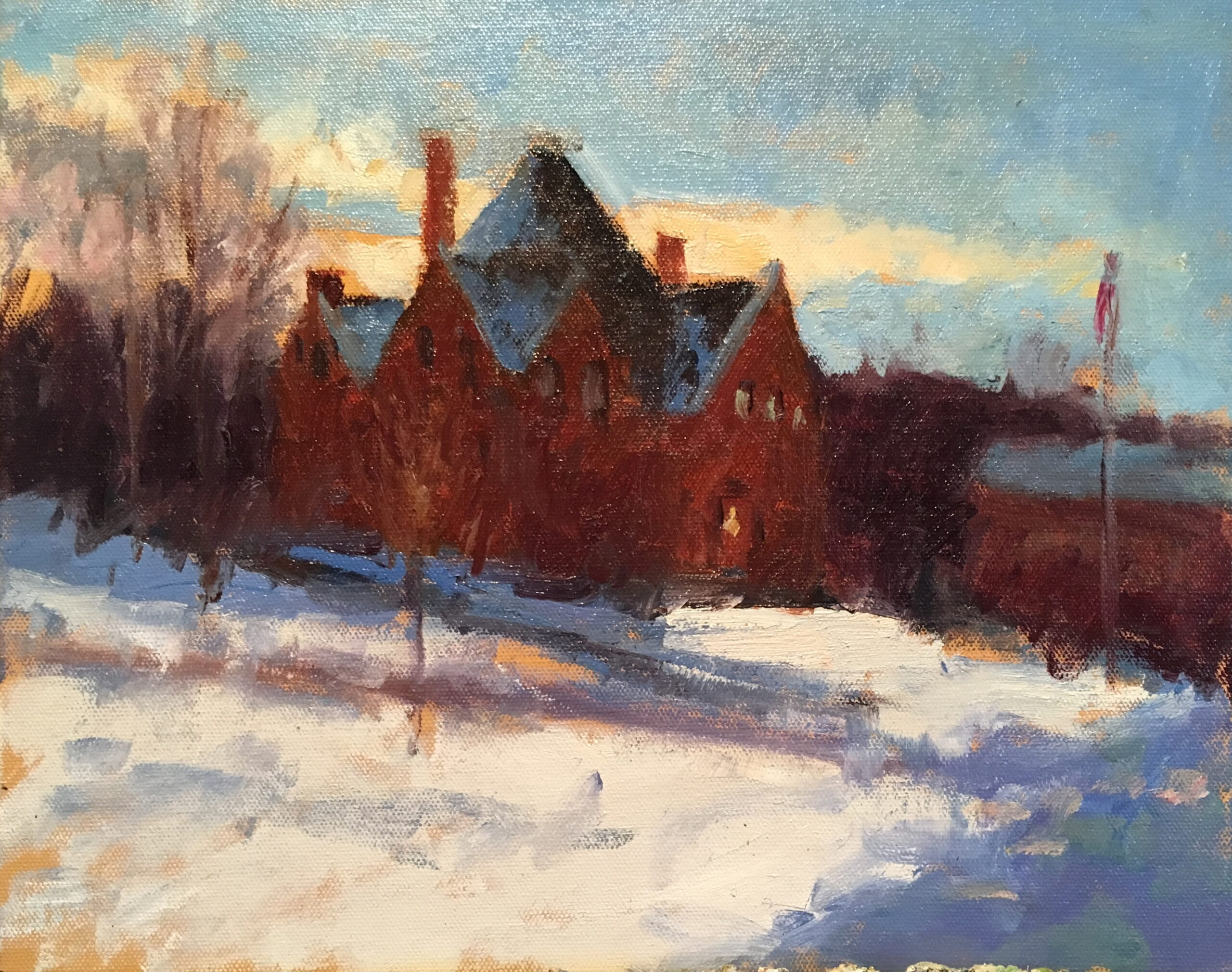 Library in Winter, Oil on Canvas on Panel, 11 x 14 Inches, by Susan Grisell, $300