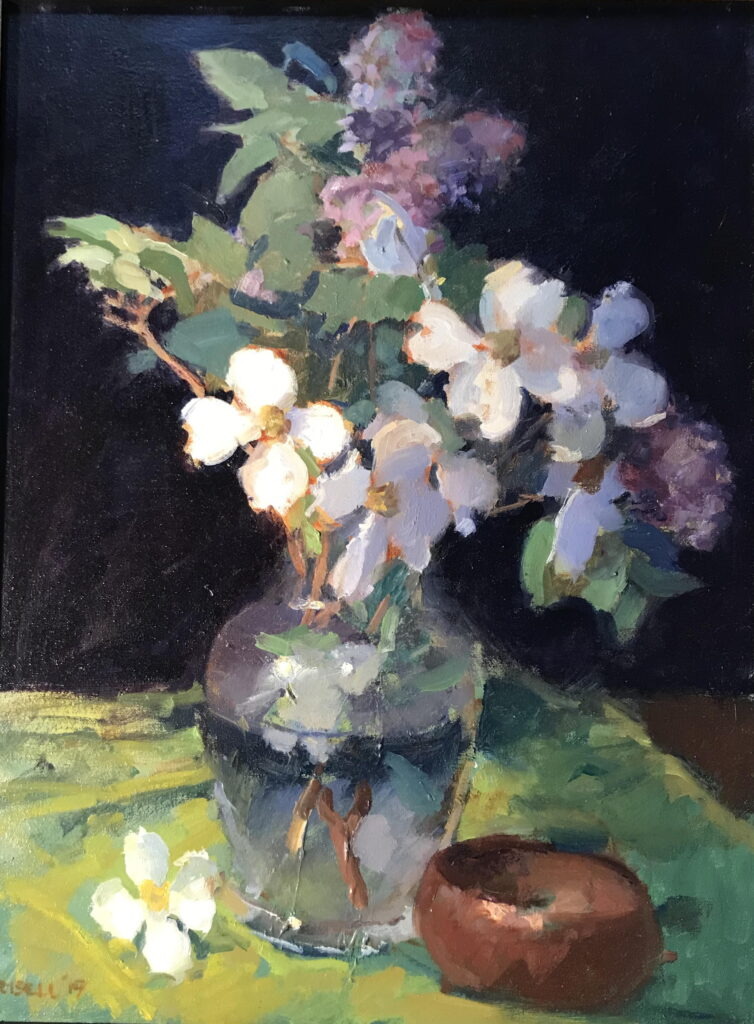 Lilacs and Dogwood, Oil on Canvas, 24 x 18 Inches, by Susan Grisell, $750