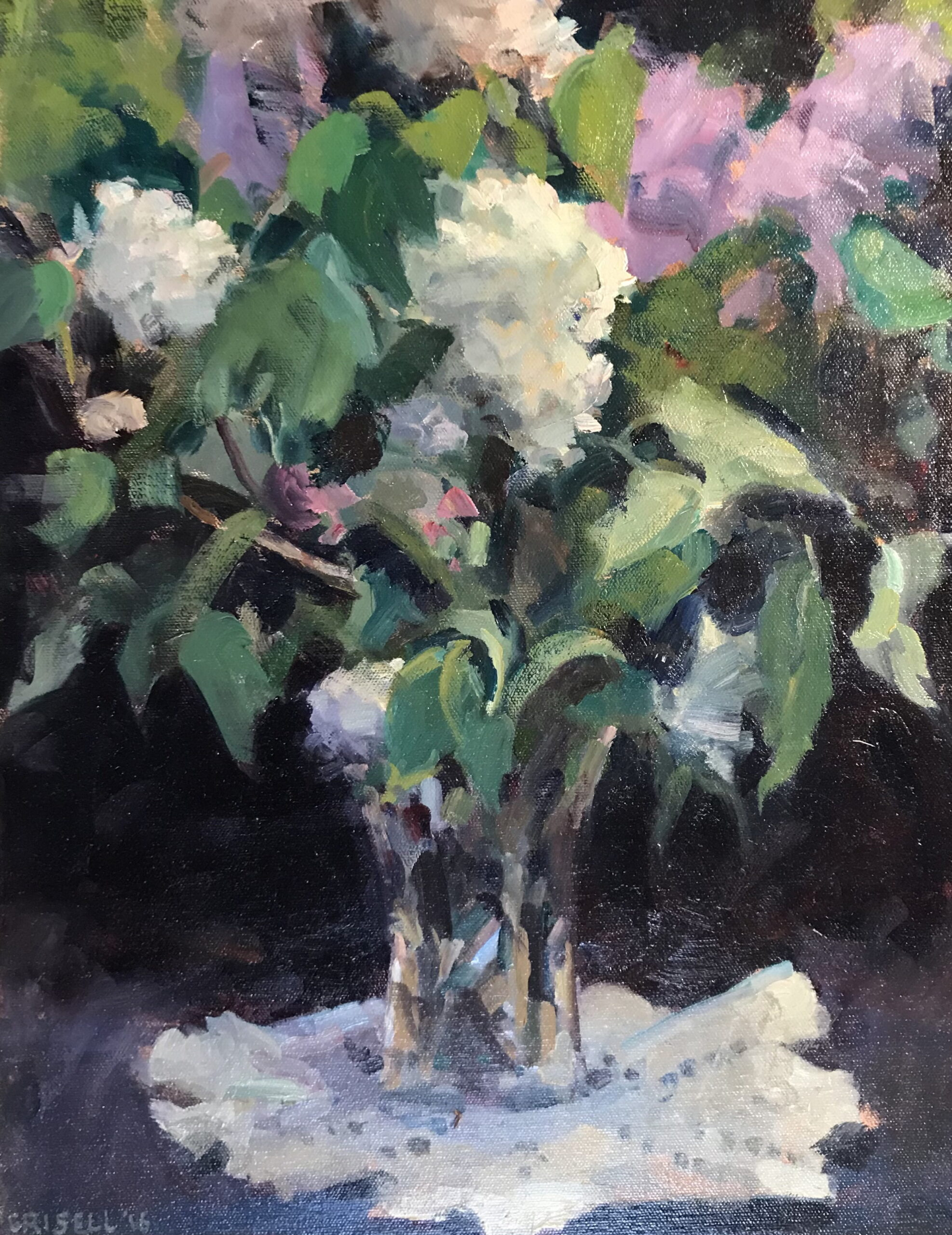 Lilacs and Lace, Oil on Canvas, 20 x 16 Inches, by Susan Grisell, $550