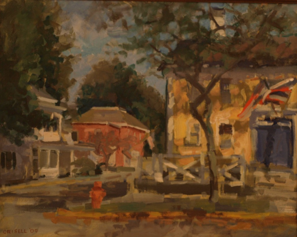 Main Street - Stonington, Oil on Canvas, 16 x 20 Inches, by Susan Grisell, $450
