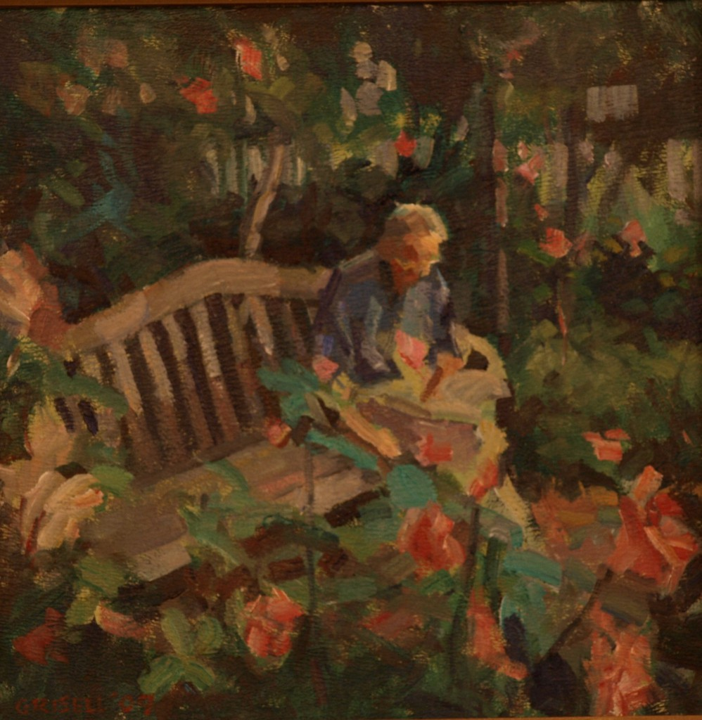 Man Among the Roses, Oil on Panel, 12 x 12 Inches, by Susan Grisell, $250