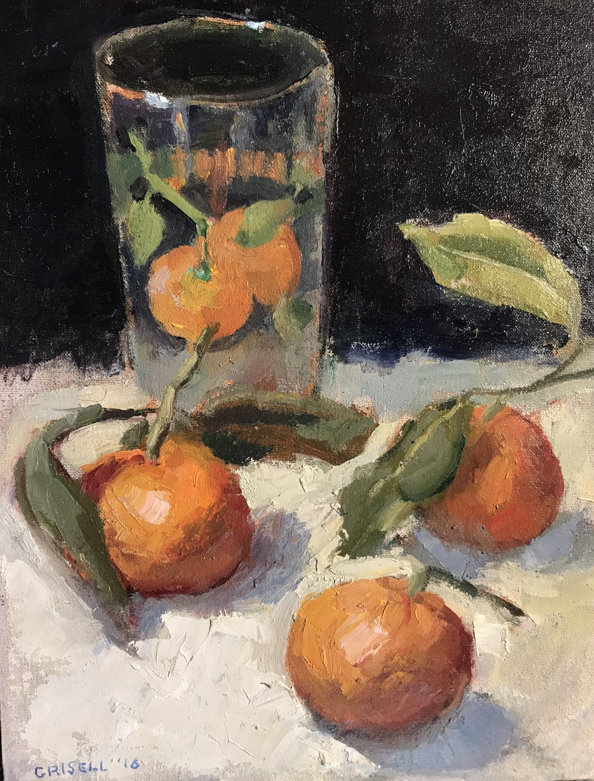 """""""Mandarins and Juice Glass"""", Oil on Canvas on Panel, 16 x 12 Inches, by Susan Grisell $325"""