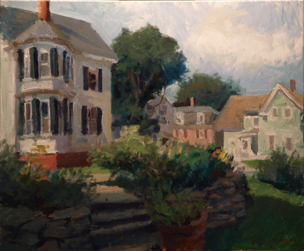 Margery's Yard, Oil on Canvas, 20 x 24 Inches, by Susan Grisell, $650