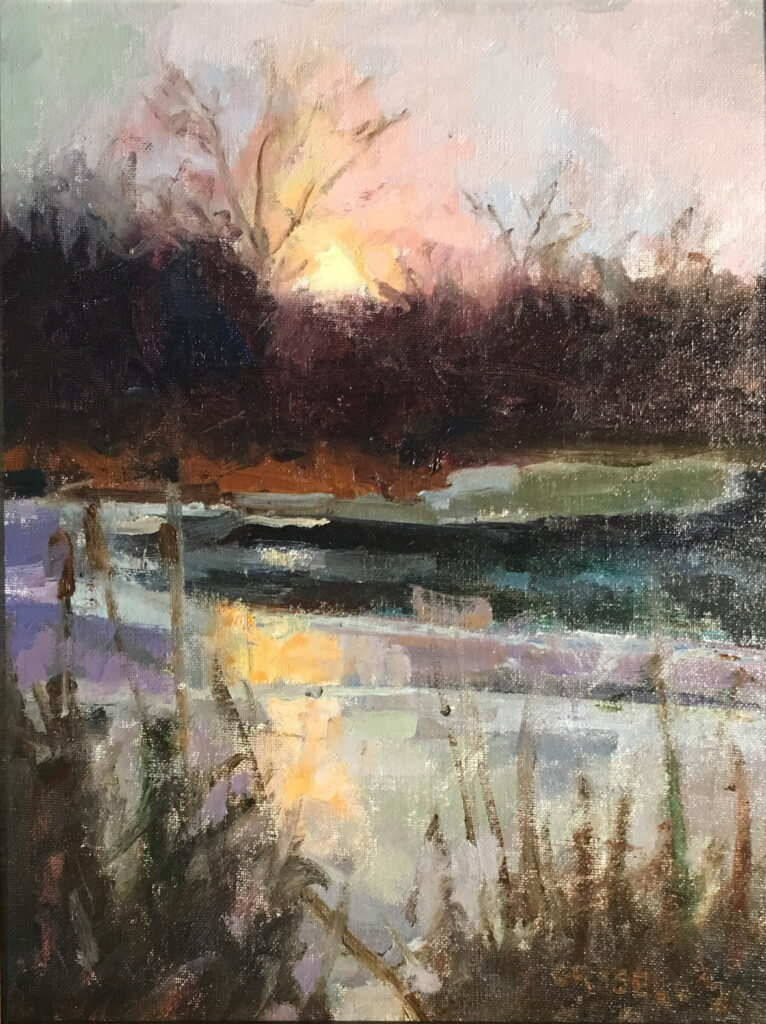 Marsh at Sunset, Oil on Canvas on Panel, 14 x 11 Inches, by Susan Grisell, $500