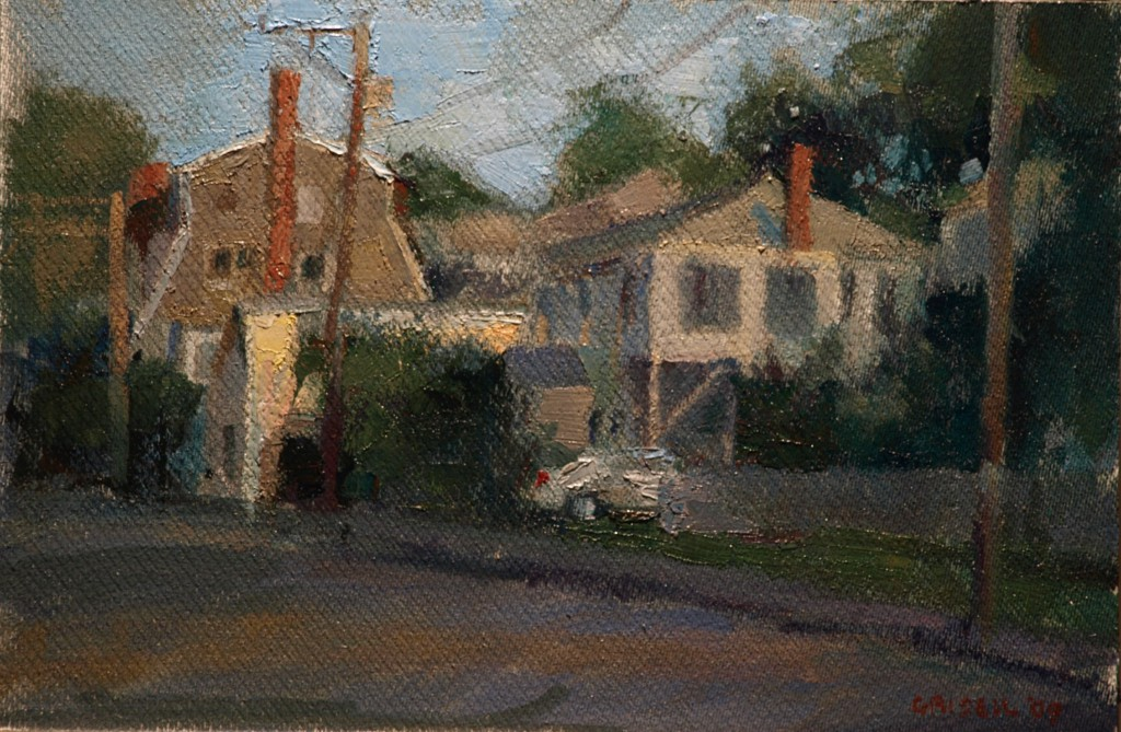 Massachusetts Houses, Oil on Panel, 12 x 18 Inches, by Susan Grisell, $325