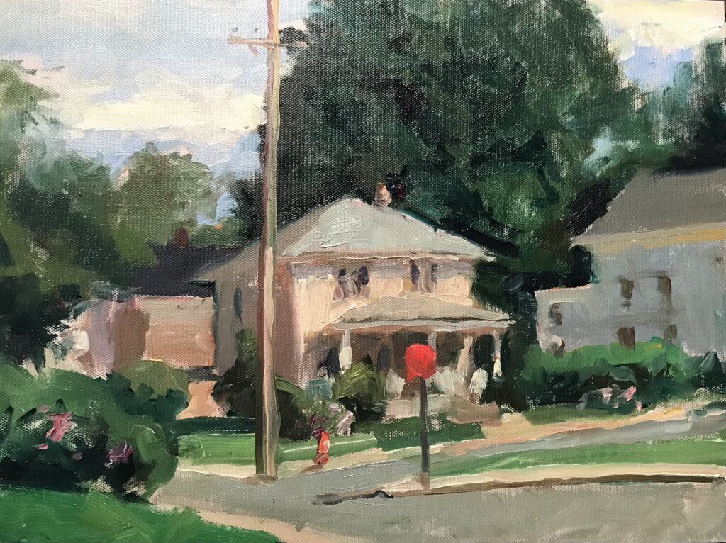 """""""Massachusetts Street Corner"""" Oil on Canvas on Panel, 12 x 16 Inches, by Susan Grisell $325"""
