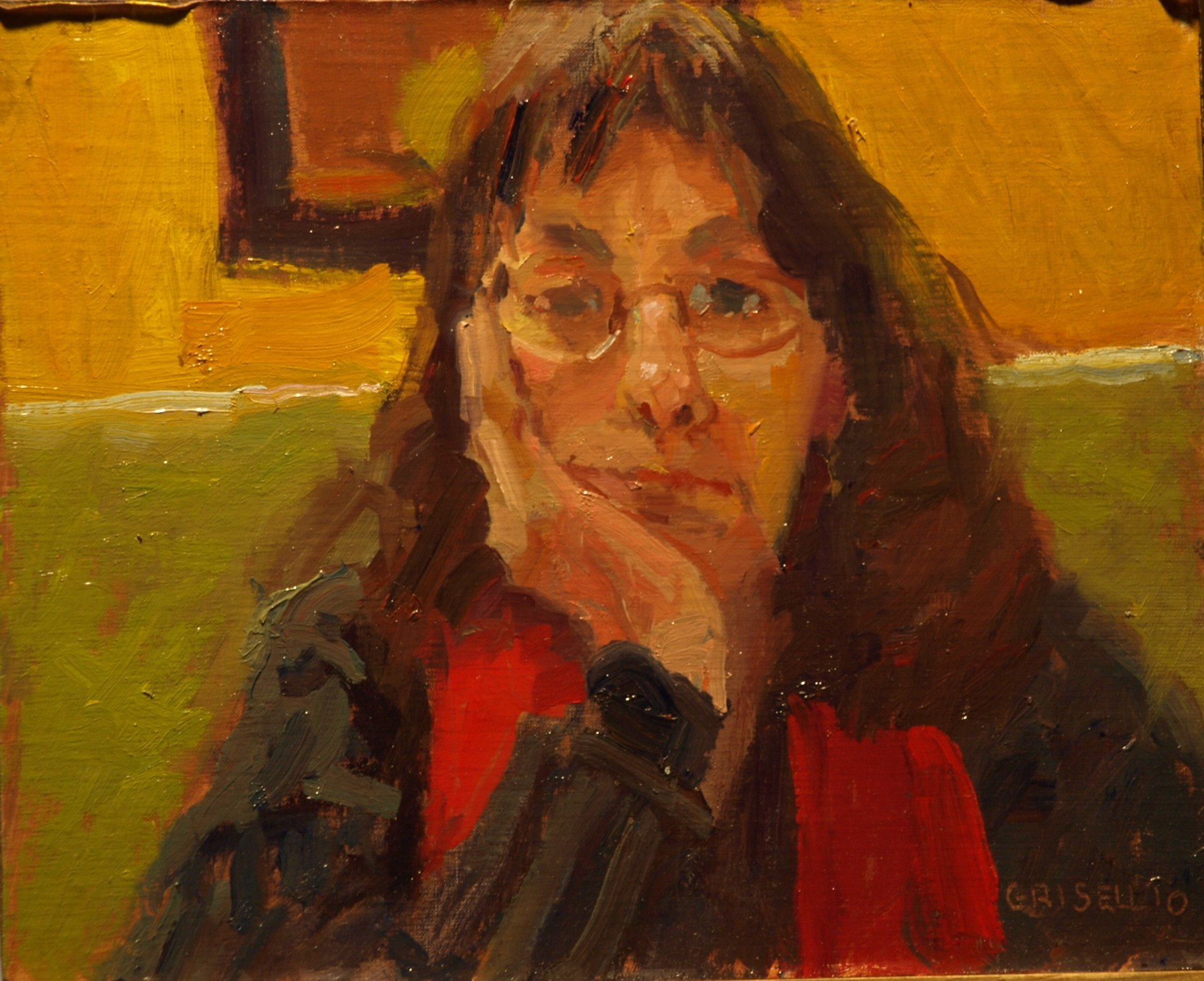 Michelle - Serious, Oil on Panel, 8 x 10 Inches, by Susan Grisell, $150