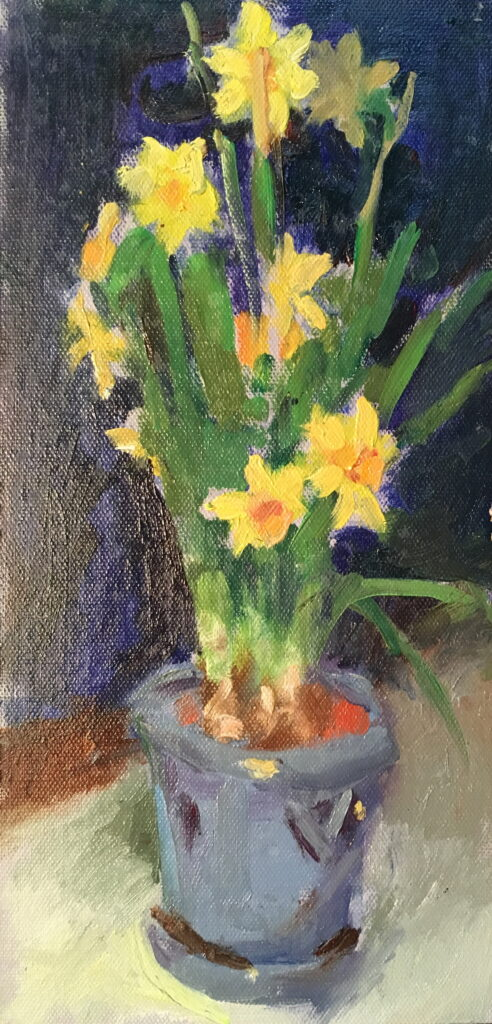 Mini Daffodils, Oil on Canvas on Panel, 12 x 6 Inches, by Susan Grisell, $200
