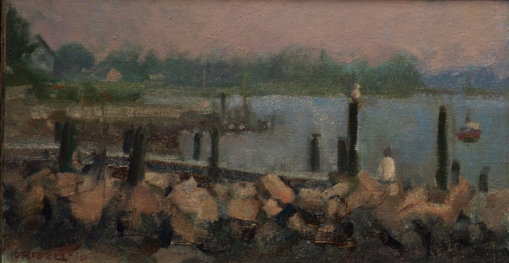 Misty Morning - Stonington, Oil on Linen on Panel, 9 x 16 Inches, by Susan Grisell, $250