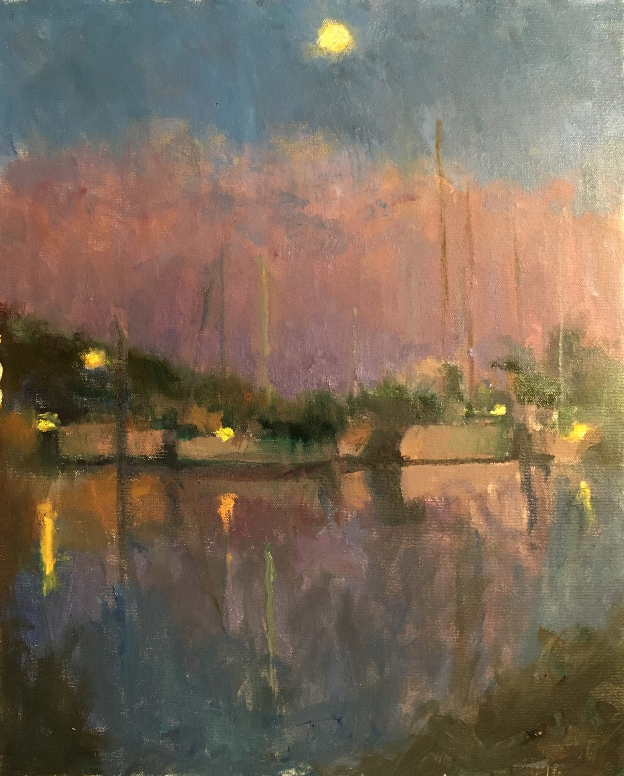 Moonlit Marina, Oil on Canvas, 20 x 16 Inches, by Susan Grisell, $550
