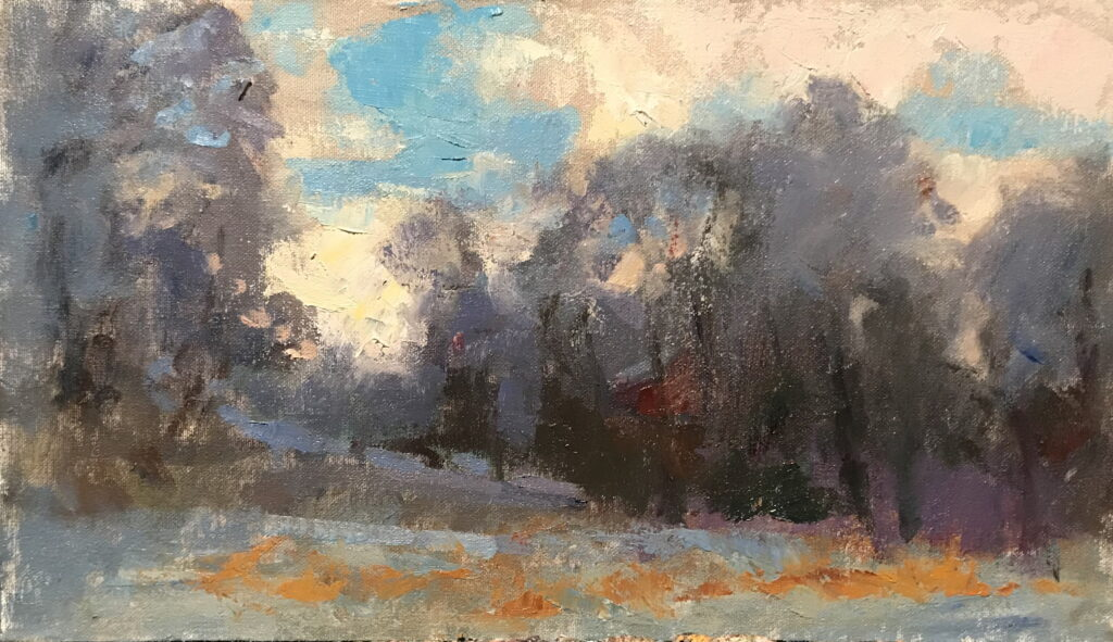 Morning Snow, Oil on Canvas on Panel, 9 x 16 Inches, by Susan Grisell, $300
