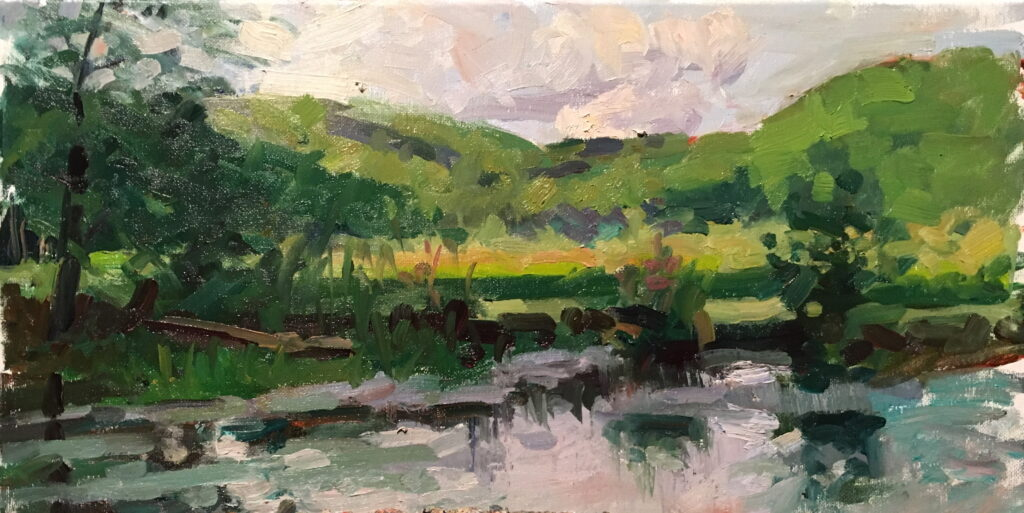 Mud Pond in September, Oil on Canvas, 10 x 20 Inches, by Susan Grisell, $325