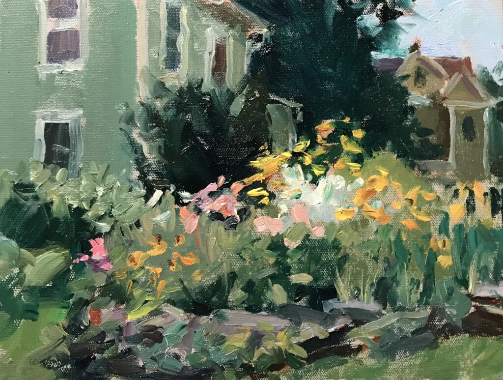 """""""My Cousin's Garden"""", Oil on Canvas on Panel, 9 x 12 Inches by Susan Grisell $200"""