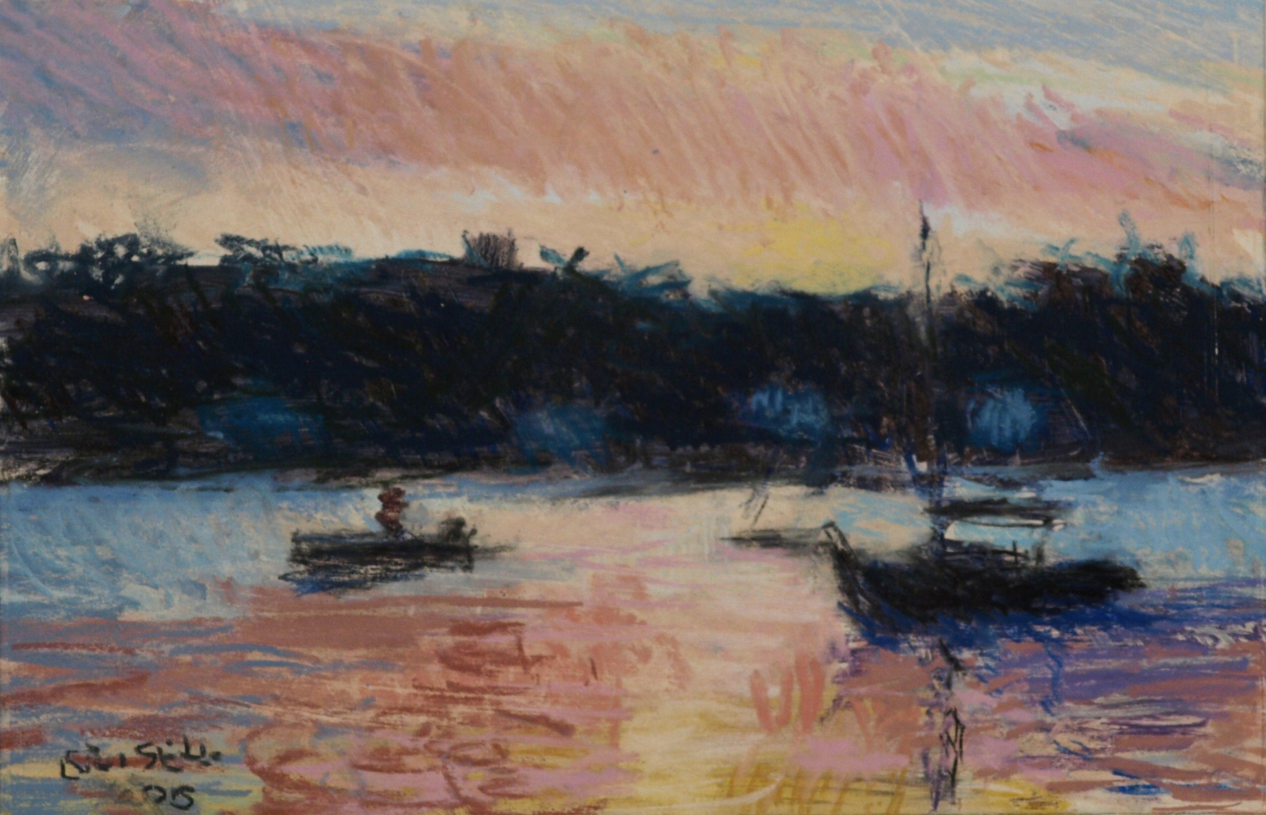 Mystic River Sunset, Matted Pastel on Paper, 7 x 10 Inches, by Susan Grisell, $250