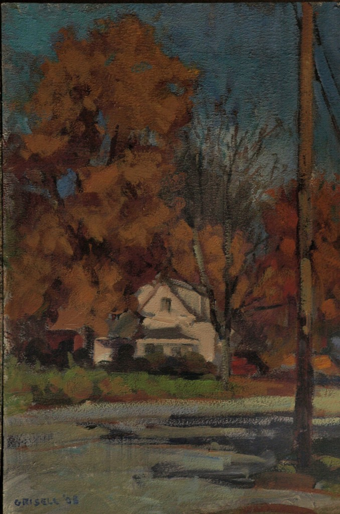 New Hampshire Road - October, Oil on Panel, 18 x 12 Inches, by Susan Grisell, $275