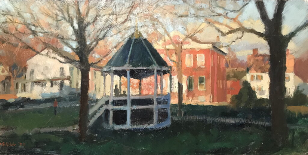 New Milford Bandstand, Oil on Panel, 12 x 24 Inches, by Susan Grisell, $750
